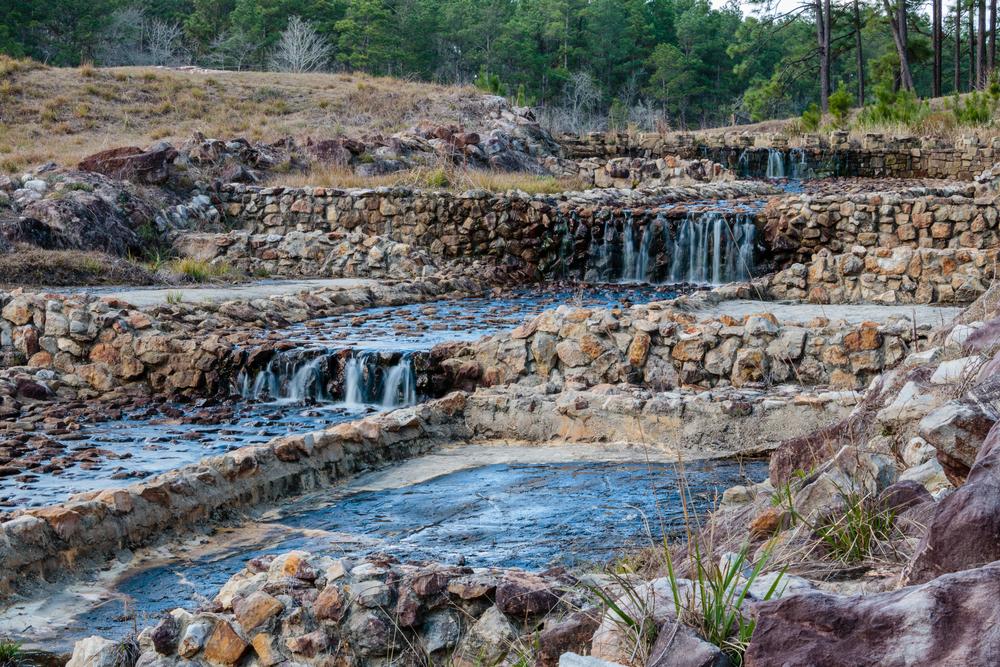 Rocky waterfall view of Boykin Springs.