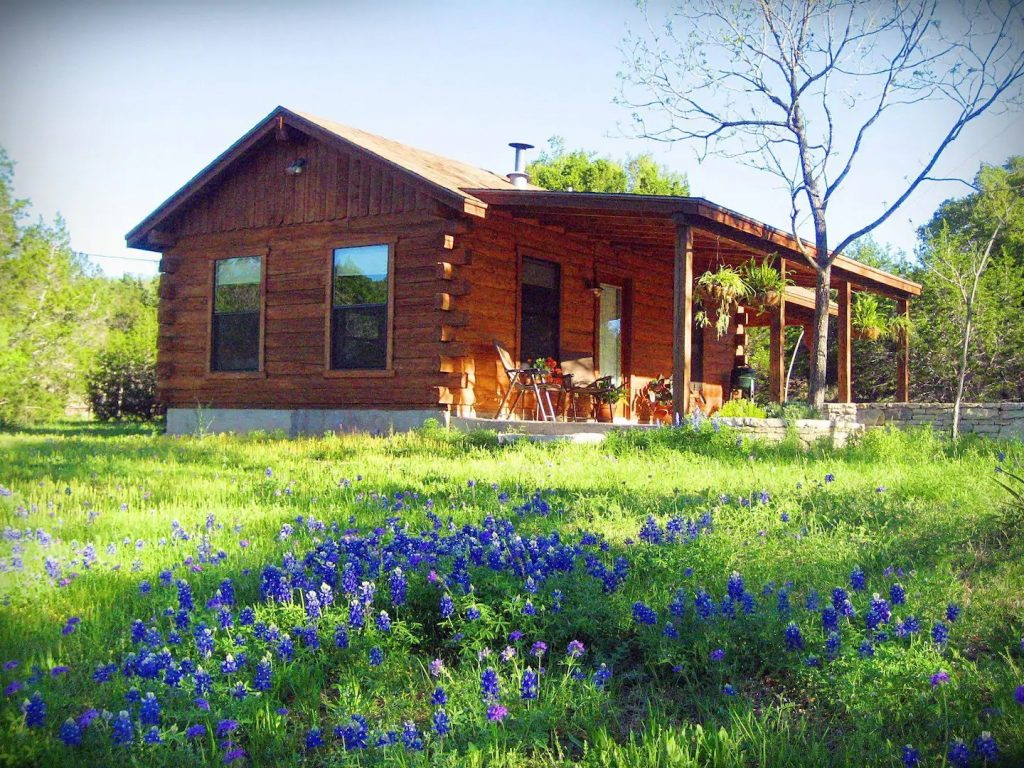 A beautiful Texas log cabin surrounded by green grass with purple flowers in the foreground.