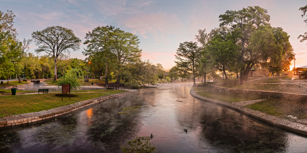 Sunset view of Comal Springs, one of the prettiest springs in Texas.