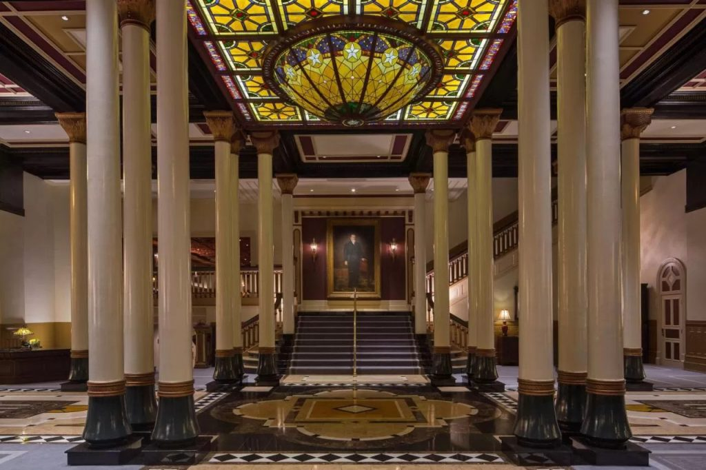 Photo of the lobby inside the Driskill Hotel in Austin, one of the most fabulous weekend getaways in Texas.