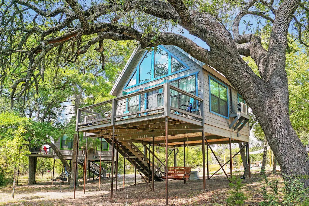 a photo of the nautical treehouse one of the best cabin getaways in Texas