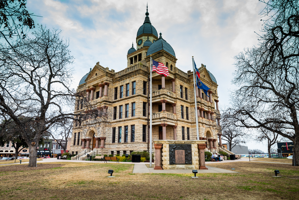 Side view of Denton County courthouse on the square in downtown Denton, a castle in Texas.