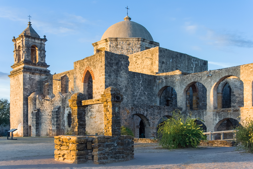 old stone castle in Texas, San Jose Mission in San Antonio at sunset