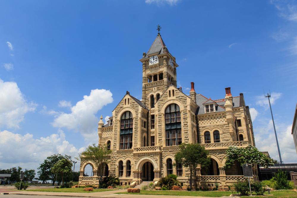 Victoria County Courthouse in Galveston, Texas. A castle in Texas.
