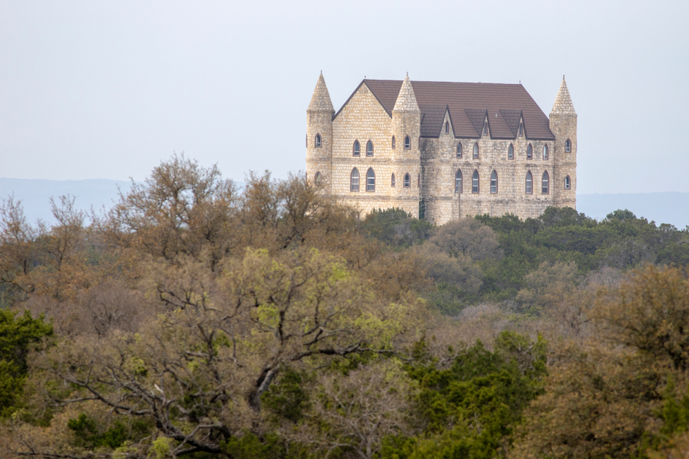 A beautiful castle on the top of a tree covered hill