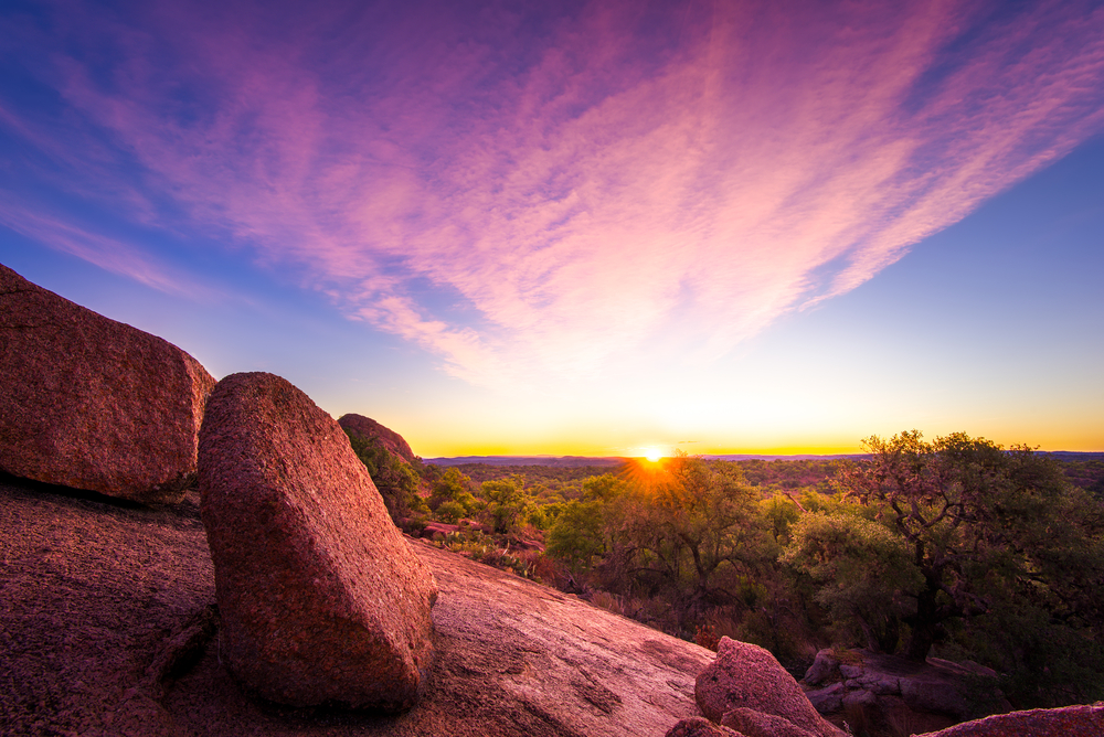 Autumn Sunrise Over Some Rocks In The Texas Hill Country