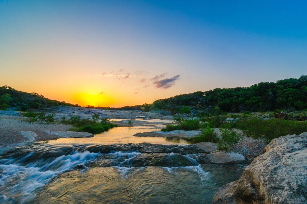 Sunset Over The Pedernales River Waterfall At Pedernales State Park