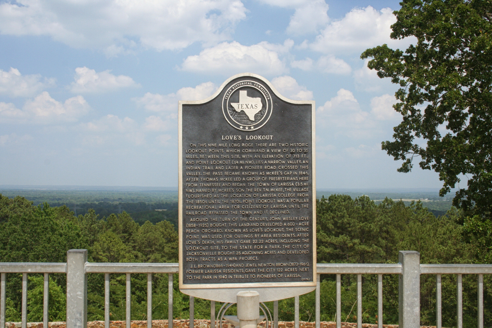 A plaque and metal railing overlooking the tops of hundreds of tree at Love's Lookout in East Texas.