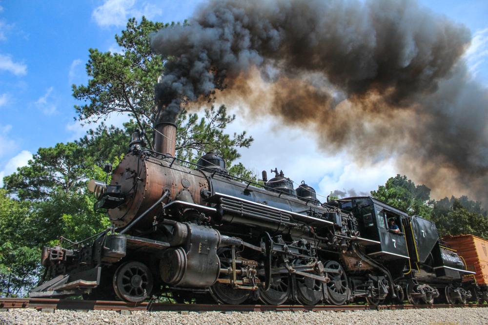 Railroad Train engine car on of the most fun things to do in East Texas.