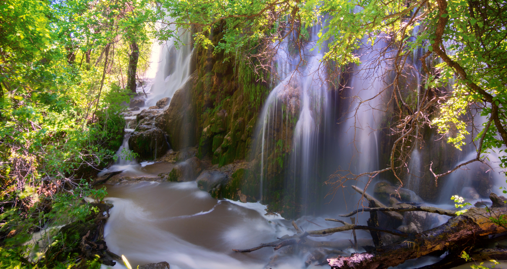 cascading waterfalls surrounded by leafy trees