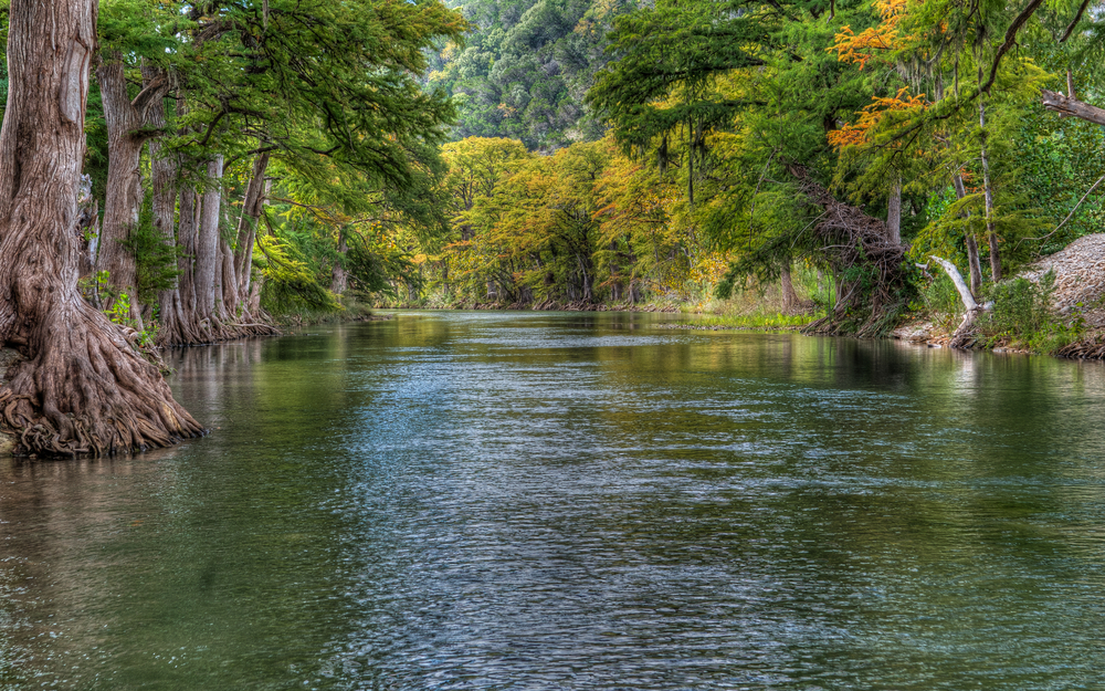 one of the top places to visit in Texas Hill Country, a wide river with large leafy trees on either side