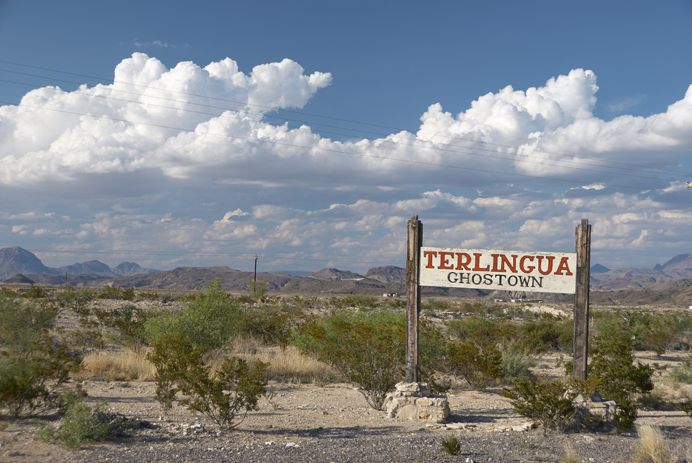 photo of a city sign for Terlingua, Texas that says Ghost Town