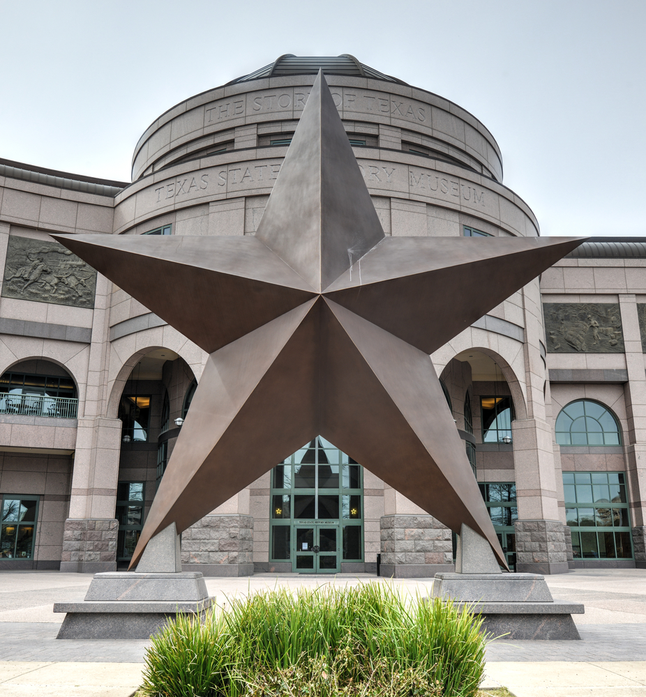 Texas' Star monument outside of the Bullock Texas State History Museum