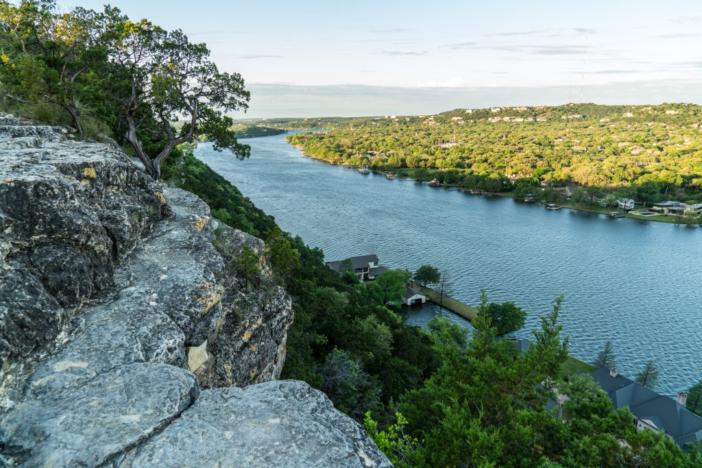 The glorious view from the top of Mount Bonnell, one of the best things to do on your weekend in Austin