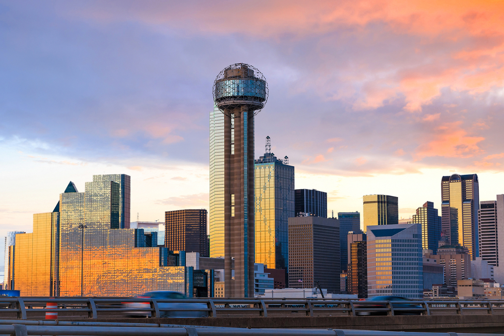 View of downtime Dallas at sunrise, time for breakfast in Dallas