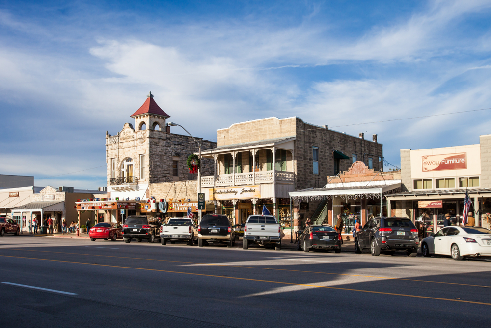 historic buildings of downtown Fredericksburg day trips from Austin