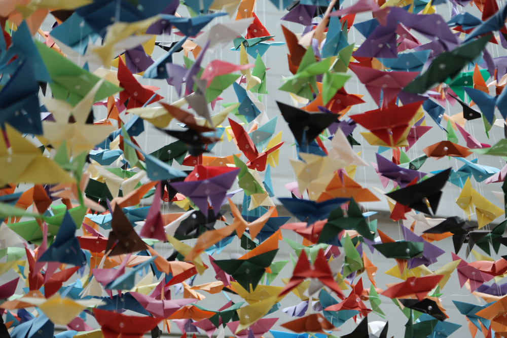a close up of Paper planes at the George W. Bush Presidential Library and Museum in texas