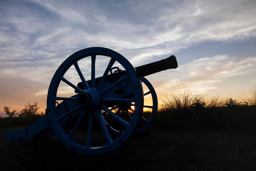 An old canon at sunset