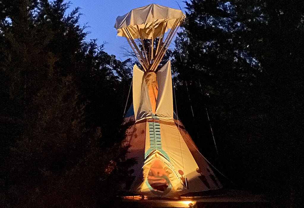the arrowhead at tipi resort one of the best teepee camping in Texas